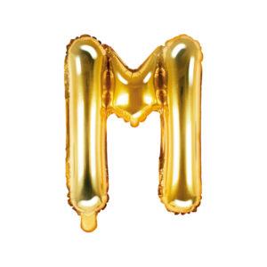 PartyDeco Fóliový balónek Mini - Písmeno M zlatý 35cm
