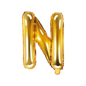 PartyDeco Fóliový balónek Mini - Písmeno N zlatý 35cm