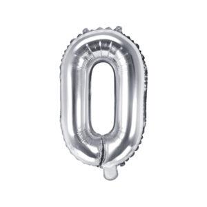PartyDeco Fóliový balónek Mini - Písmeno O stříbrný 35cm