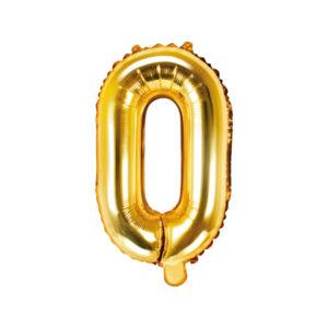 PartyDeco Fóliový balónek Mini - Písmeno O zlatý 35cm