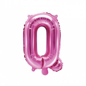 PartyDeco Fóliový balónek Mini - Písmeno Q 35cm růžový