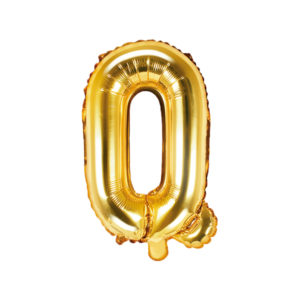 PartyDeco Fóliový balónek Mini - Písmeno Q zlatý 35cm