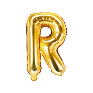 PartyDeco Fóliový balónek Mini - Písmeno R zlatý 35cm