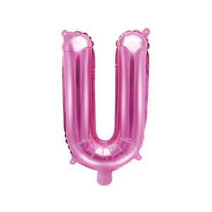 PartyDeco Fóliový balónek Mini - Písmeno U 35cm růžový