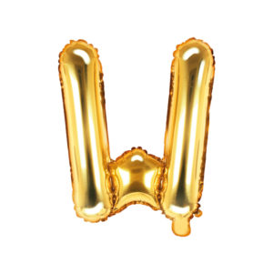 PartyDeco Fóliový balónek Mini - Písmeno W zlatý 35cm