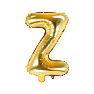 PartyDeco Fóliový balónek Mini - Písmeno Z zlatý 35cm
