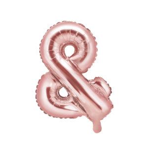 PartyDeco Fóliový balónek Mini - Symbol & růžovo-zlatý 35cm