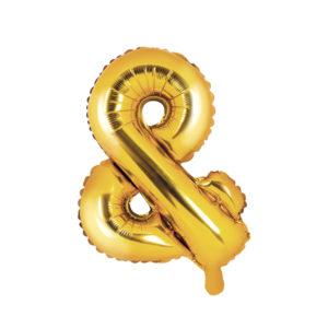 PartyDeco Fóliový balónek Mini - Symbol & zlatý 35cm