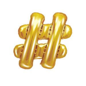 PartyDeco Fóliový balónek Mini - Symbol # zlatý 35cm