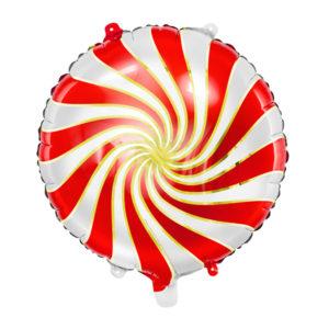 PartyDeco Fóliový balónek červenobílý bonbón 35 cm