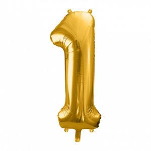 PartyDeco Fóliový balónek narozeninové číslo 1 zlatý 86cm