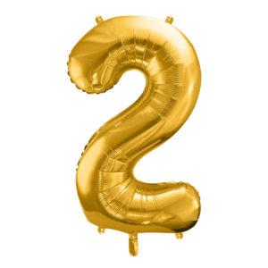PartyDeco Fóliový balónek narozeninové číslo 2 zlatý 86cm