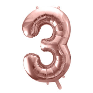 PartyDeco Fóliový balónek narozeninové číslo 3 - růžovo-zlatý