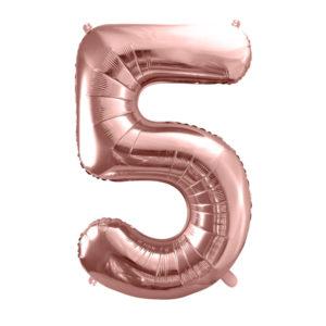 PartyDeco Fóliový balónek narozeninové číslo 5 - růžovo-zlatý