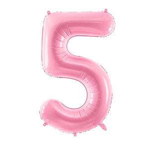 PartyDeco Fóliový balónek narozeninové číslo 5 - růžový 86cm