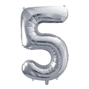 PartyDeco Fóliový balónek narozeninové číslo 5 stříbrný 86cm