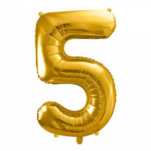 PartyDeco Fóliový balónek narozeninové číslo 5 zlatý 86cm