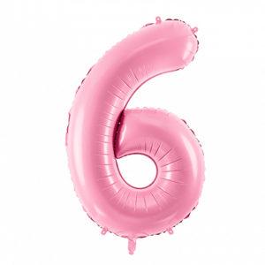 PartyDeco Fóliový balónek narozeninové číslo 6 - růžový 86cm