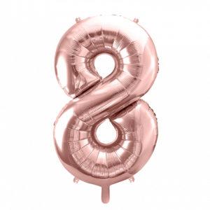 PartyDeco Fóliový balónek narozeninové číslo 8 - růžovo-zlatý