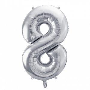 PartyDeco Fóliový balónek narozeninové číslo 8 stříbrný 86cm