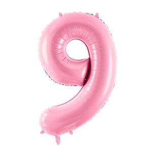PartyDeco Fóliový balónek narozeninové číslo 9 - růžový 86cm