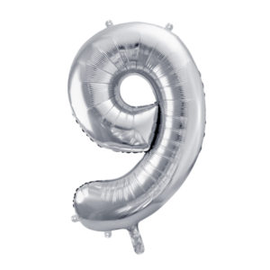 PartyDeco Fóliový balónek narozeninové číslo 9 stříbrný 86cm