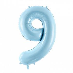 PartyDeco Fóliový balónek narozeninové číslo 9 - světlemodrý