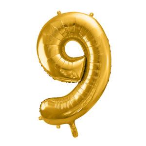 PartyDeco Fóliový balónek narozeninové číslo 9 zlatý 86cm