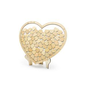 PartyDeco Kniha hostů - Dřevěné Srdce