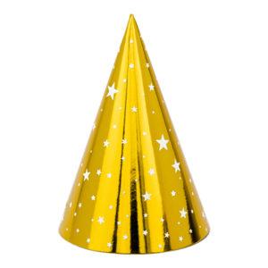 PartyDeco Párty kloboučky - Zlaté s hvězdami