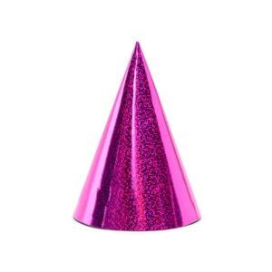 PartyDeco Párty kloboučky - holografické pink 6 ks