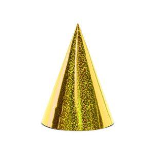 PartyDeco Párty kloboučky - holografické zlaté 6 ks