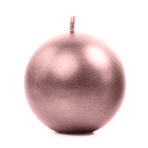 PartyDeco Svíčka - koule metalická růžovo-zlatá 8 cm