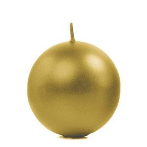 PartyDeco Svíčka - koule metalická zlatá 6 cm
