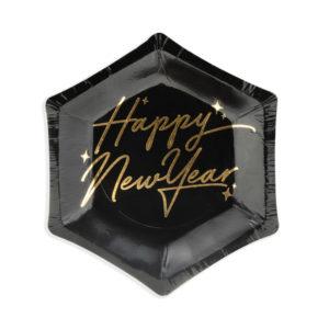 PartyDeco Talíře černé - Happy New Year 12
