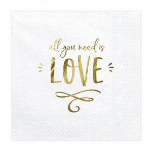 PartyDeco Ubrousky - All you need is love 33 x 33 cm