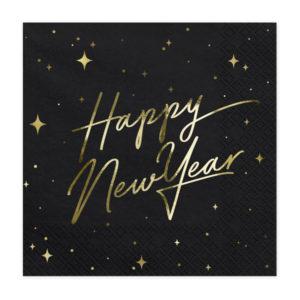 PartyDeco Ubrousky - Šťastný nový rok (černé)