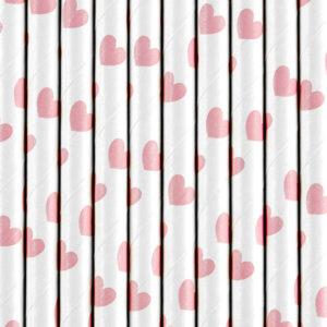 PartyDeco Brčka se srdíčky světle růžové 19