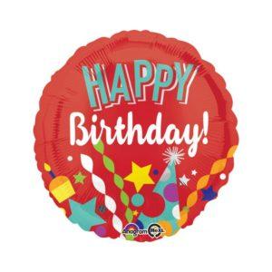 Amscan Fóliový balón Happy Birthday - červený