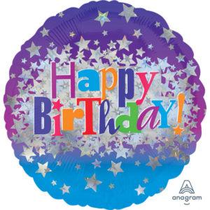 Amscan Fóliový balón - Happy birthday hvězdy 43 cm