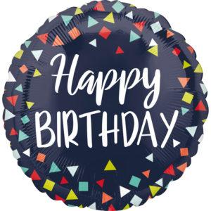 Amscan Fóliový balón - Happy birthday vzorovaný 43 cm