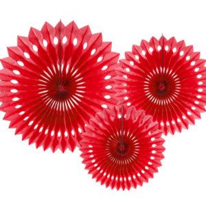 PartyDeco Dekorační rozety červené 3 ks