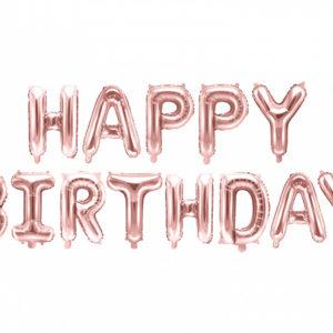 PartyDeco Fóliový balón - Happy Birthday růžovo-zlatý