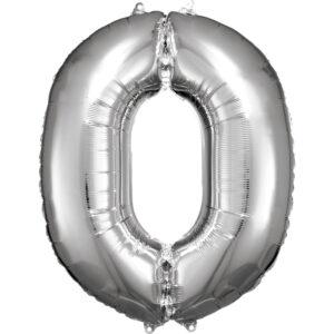 Amscan Balónek fóliový narozeninové číslo 0 - stříbrný 86cm