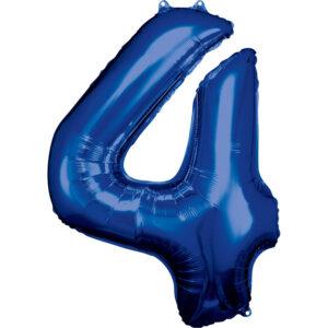 Amscan Balónek fóliový narozeninové číslo 4 - modrý 86 cm