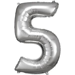 Amscan Balónek fóliový narozeninové číslo 5 - stříbrný 86cm
