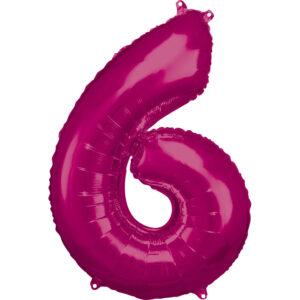 Amscan Balónek fóliový narozeninové číslo 6 - růžový 86 cm