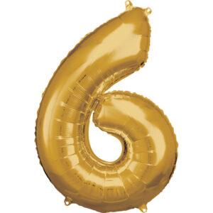 Amscan Balónek fóliový narozeninové číslo 6 - zlatý 86 cm
