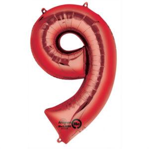 Amscan Balónek fóliový narozeninové číslo 9 - červený 86 cm