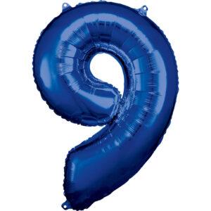 Amscan Balónek fóliový narozeninové číslo 9 - modrý 86 CM